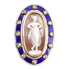Antique Georgian Rose Cut Diamond Cameo Brooch