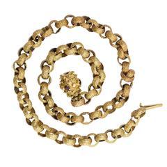 Antique Georgian Fancy-Link Garnet Clasp Gold Chain