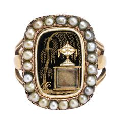 """Antique Georgian Enamelled """"Urn and Weeping Willow"""" Pearl Mourning Ring"""