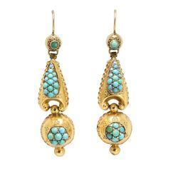 Antique Victorian Pavé Turquoise Etruscan Revival Earrings