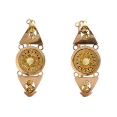 Antique 18th Century Citrine Poissarde Earrings