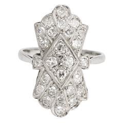 Art Deco Diamond Fan Cluster Ring