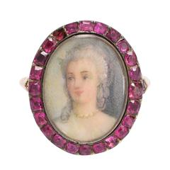 Antique Georgian Ruby Halo Portrait Ring