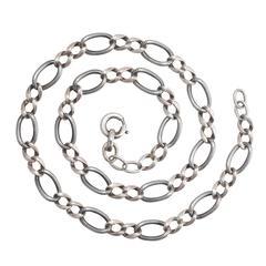 1920s Art Deco Niello Silver Curb-Link Chain