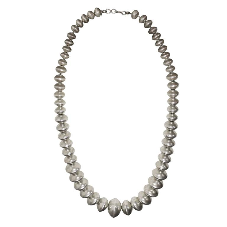 "1960s Silver ""Flying Saucer"" Long Bead Necklace"