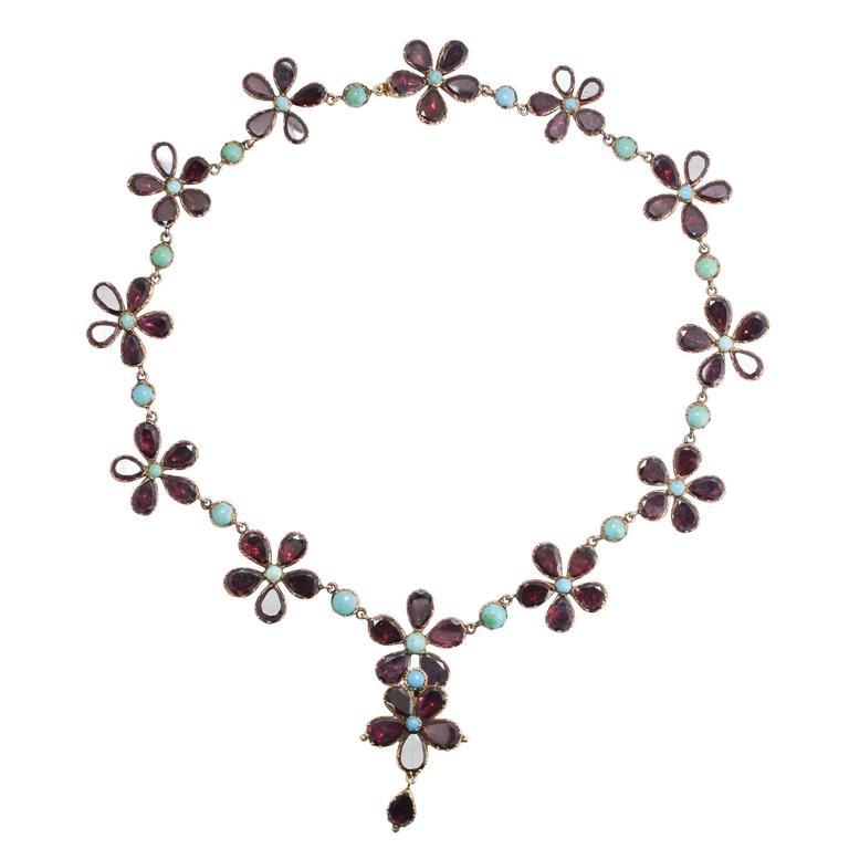 Antique Georgian Garnet Turquoise Flower Rivière Necklace