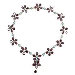 Antique Georgian Garnet Turquoise Flower Rivière Necklace