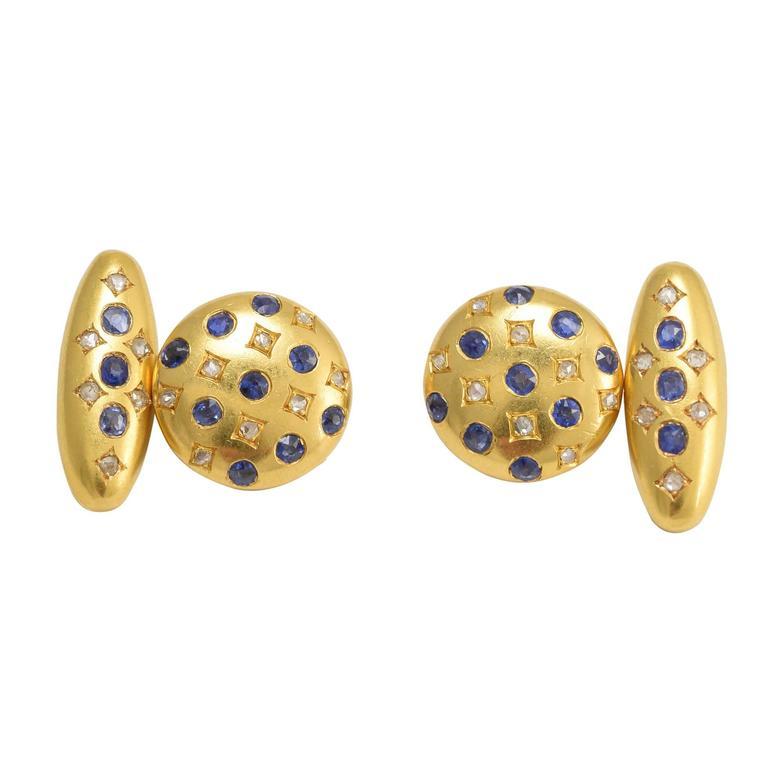 Antique Victorian Sapphire Diamond Gold Cufflinks