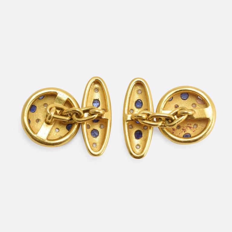 Antique Victorian Sapphire Diamond Gold Cufflinks In Excellent Condition In Sale, Cheshire