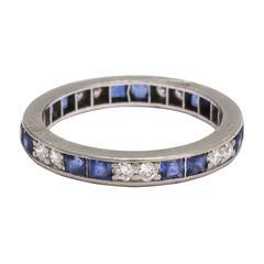 1920s Art Deco Sapphire Diamond Eternity Ring