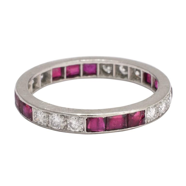 1920s deco ruby platinum eternity ring at 1stdibs