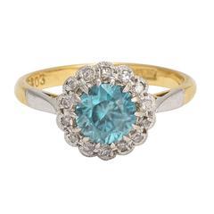 Art Deco Zircon Diamond Flower Cluster Ring
