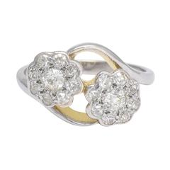 Antique Art Nouveau Diamond Double Daisy Cluster Ring