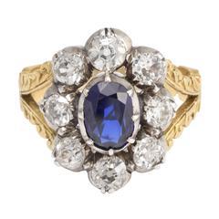 Antique Georgian Sapphire Diamond Flower Cluster Ring