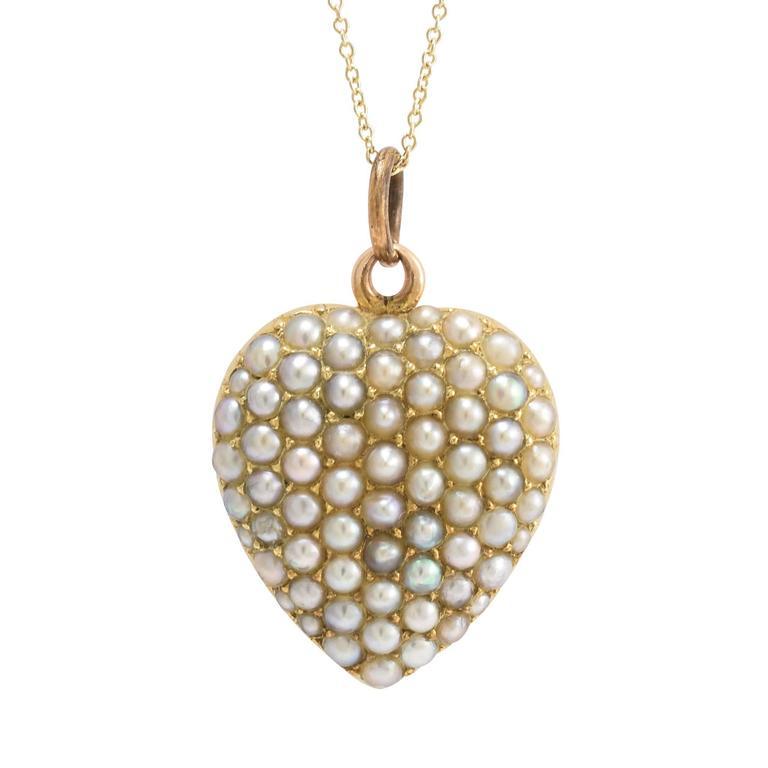 Antique Victorian Pavé Pearl Heart Pendant 1