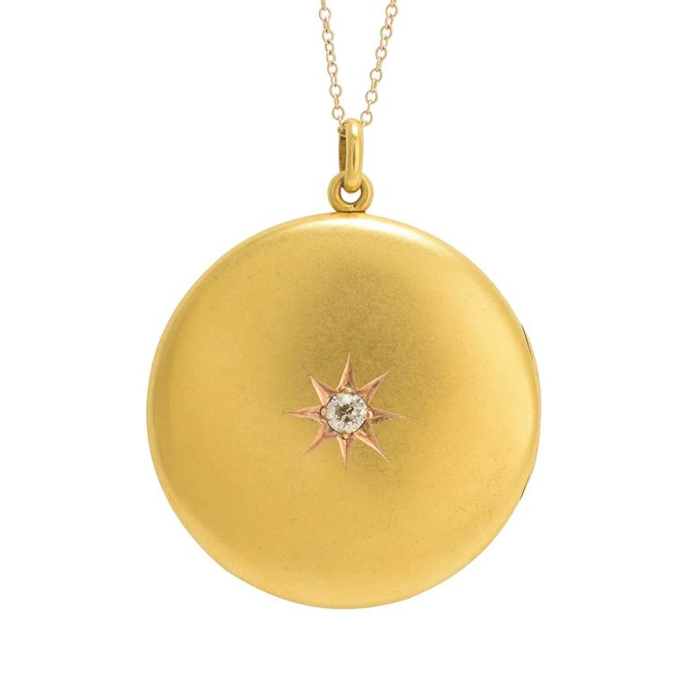 Victorian Diamond Round Brushed Gold Locket