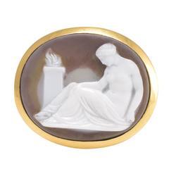 Georgian Hardstone Cameo Yellow Gold Venus Signet Ring