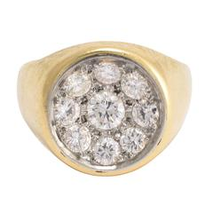 1940s Diamond Gold Concave Cluster Ring