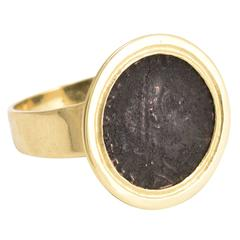 Antique Georgian Roman Coin Gold Signet Ring