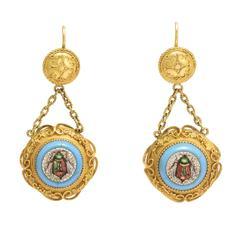 Victorian Etruscan Revival Micromosaic Bug Earrings