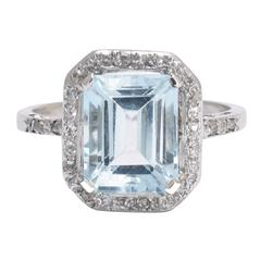 Antique Edwardian 4 Carat Aquamarine Diamond Platinum Engagement Ring
