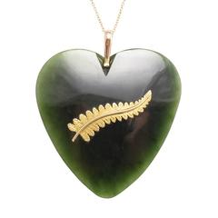 Antique Edwardian Oversized New Zealand Greenstone Heart Pendant