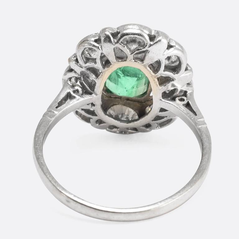 1920s Art Deco Emerald Diamond Flower Cluster Ring 4