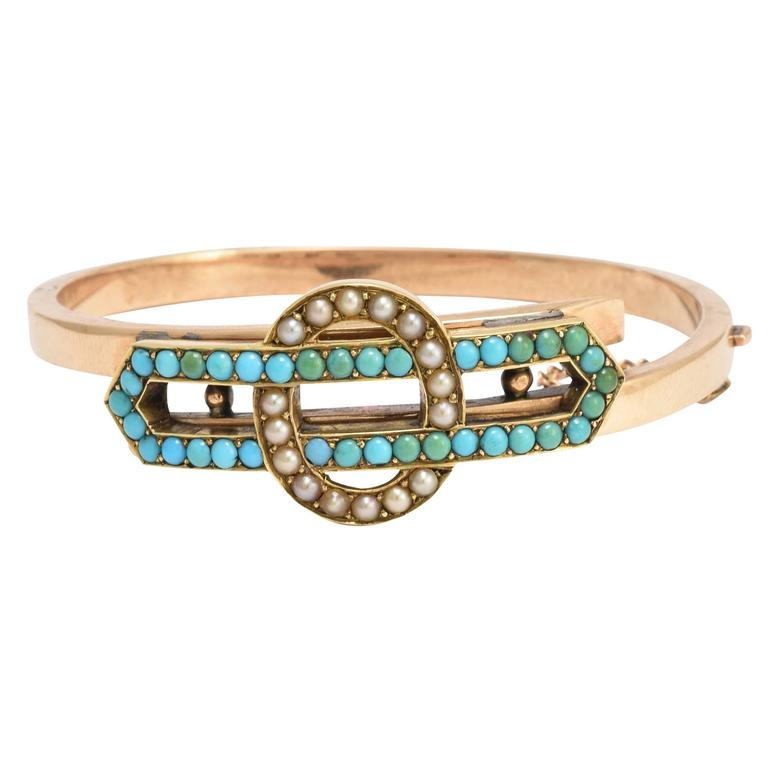 Antique Victorian Turquoise Pearl Infinity Bangle Bracelet