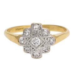 1920s Art Deco Diamond Cross Cluster Ring