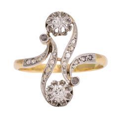 """Antique Art Nouveau Diamond """"Toi et Moi"""" Ring"""