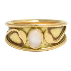 1970s Elizabeth Gage Moonstone Leaf Gold Ring