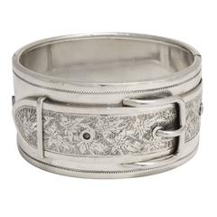 """Antique Victorian """"Ivy Buckle"""" Silver Cuff Bangle"""