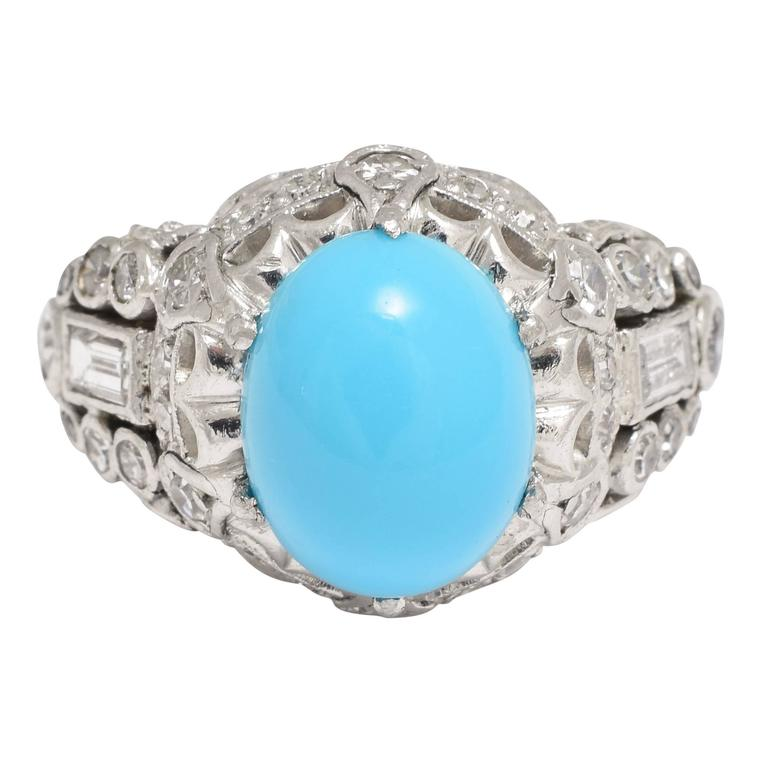 1930s Art Deco Persian Turquoise Diamond Platinum Cocktail Ring