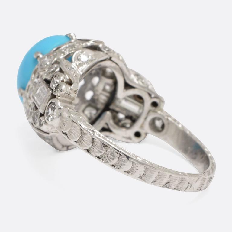 Baguette Cut 1930s Art Deco Persian Turquoise Diamond Platinum Tail Ring For