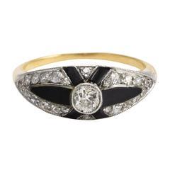 Art Deco Onyx Diamond X Cocktail Ring