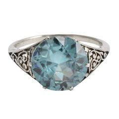 Art Deco 3.75 Carat Zircon Filigree Ring