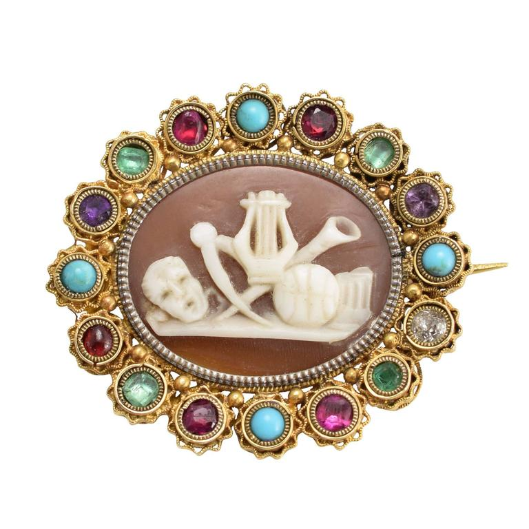 "Regency Period Harlequin ""Classical Muses"" Cameo Brooch 1"