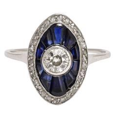 1920s Art Deco Sapphire Eye Diamond Platinum Ring