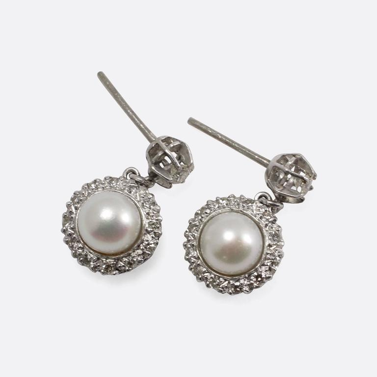 deco pearl and cluster stud earrings for sale at 1stdibs
