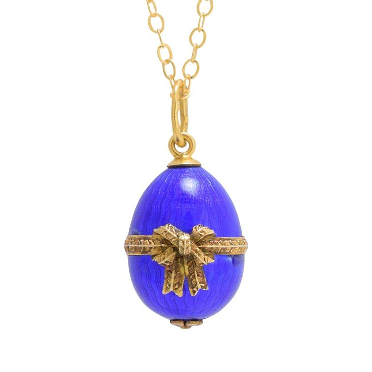 Russian egg diamond and vermeil enamel pendant for sale at 1stdibs ananov blue enamel bow russian miniature egg pendant mozeypictures Gallery