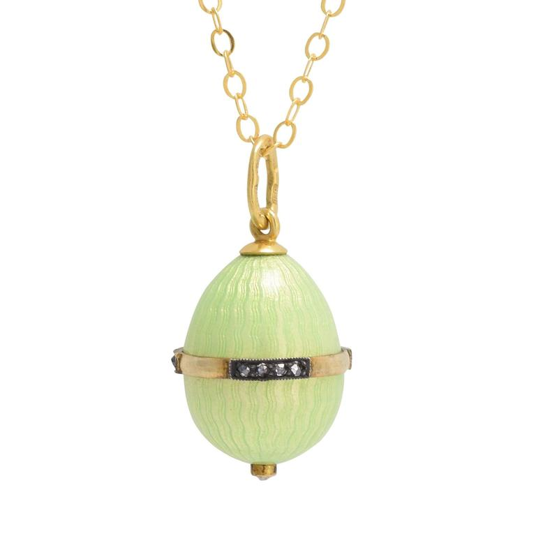 Ananov Green Enamel Russian Miniature Egg Pendant