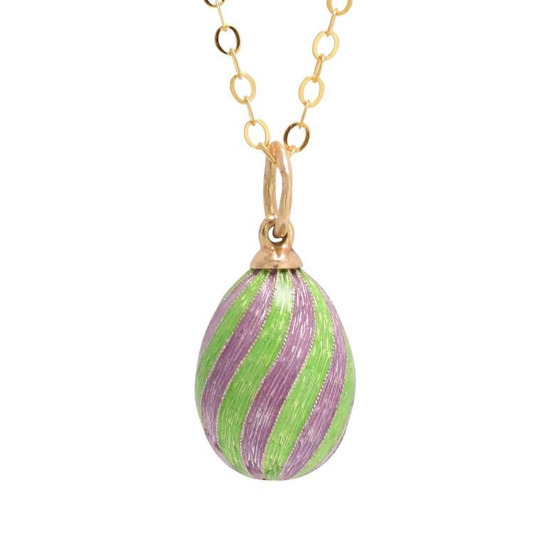 1960s Spiral Enamel Russian Miniature Egg Pendant