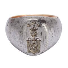 Antique Victorian Steel Heraldic Signet Ring