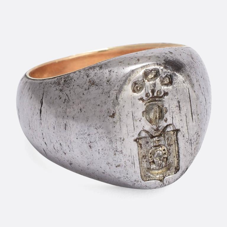 Antique Victorian Steel Heraldic Signet Ring at 1stdibs