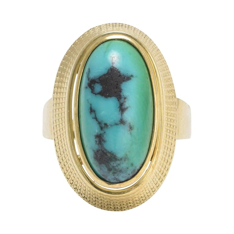 1960s Turquoise Matrix Egyptian Revival Gold Ring