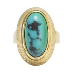 1960s Turquoise Matrix Egyptian Revival Gold Ring