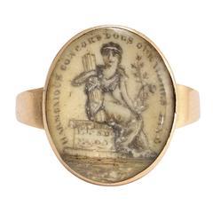 Antique Georgian Sentimental Sepia Miniature Mourning Ring