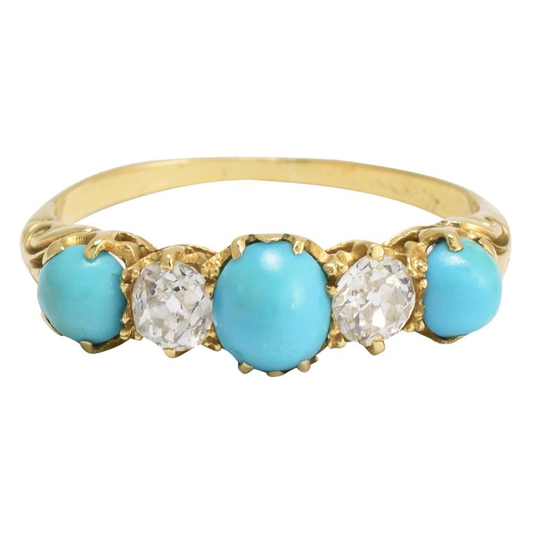 Antique Victorian Diamond Turquoise Five-Stone Ring at 1stdibs