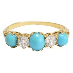 Antique Victorian Diamond Turquoise Five-Stone Ring