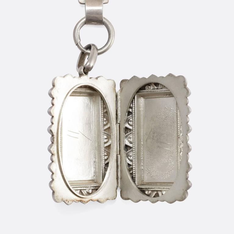 Women's Antique Victorian Sterling Silver Collar and Locket For Sale